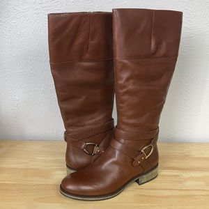 Bandolino Brown Leather Zip Up Boots Size 10